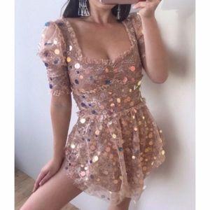 NWOT For Love & Lemons Ace Mini Dress - Golden